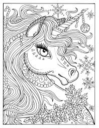 Unicorn Christmas Coloring Page Adult Color Book Art Fantasy Etsy