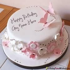 Butterfly Elegant Birthday Cake For Girls Name Generator Happy