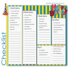 Party Planner Children Birthday Party Planner Checklist For Kids