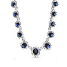 classic blue oval cubic zirconia simulated sapphire cz crown statement cocktail necklace collar rhodium plated brass