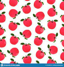 Vector Seamless Pattern With Red Apple ...