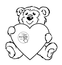 Small Picture Cute Teddy with Heart coloring page for kids for girls coloring