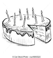 Sketch Of Birthday Cake Birthday Cake With Candles Birthday Cake