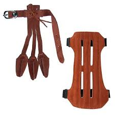 details about archery bow 3 finger shooting glove finger tab leather arm guard hand protector