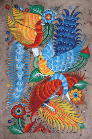 Mexican Home Decor Mexican Painting Of Birds Flowers Latin Folk Art Craft Home