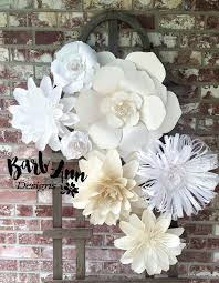 White Paper Flower Backdrop White And Cream Large Paper Flower Backdrop Barb Ann Designs