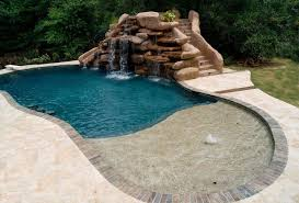 Small Inground Pool With Rock Waterfall Pools For Home