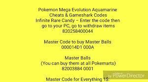 Pokemon Mega Evolution Aquamarine Cheats & Gameshark Codes - YouTube