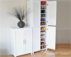 New White Louvre Door Pairs Shoe Storage Cabinet Rack Cupboard