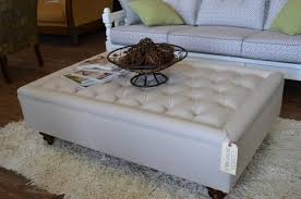 Coffee Tables:Exquisite Cream Square Ottoman Coffee Table Leather Med Art  Home Design Posters Image
