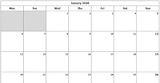 Calendar Template Monthly 2020 Download 2020 Monthly Calendar Mon Start Ink Saver Excel