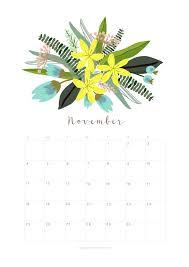 November Through November Calendars Printable November 2018 Calendar Monthly Planner Floral Design A
