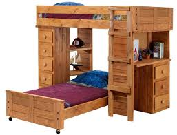 wooden l shaped twin size bunk bed with desk and drawers also shelves plus rustic fixed