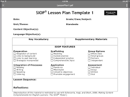 Siop Lesson Plan Template 1 Siop Lesson Plan Template 1
