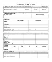 Blank Rental Application Blank Rental Agreement Template Printable Lease Form Application