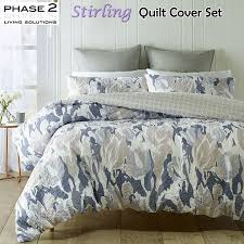 details about stirling quilted duvet doona quilt cover set queen king bed size by phase 2