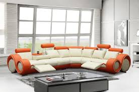 4087 modern orange and cream leather sectional sofa
