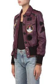 com purple leather jacket with patch by coach 1941