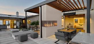 j series corner two sided outdoor gas fireplace by european home