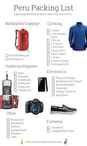 Packing Lists Peru Packing List: Checklist for Travel to Cusco & Lima, Peru