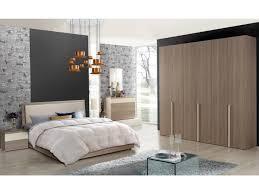Schlichter Schlafzimmer Set Siena Holzoptik Schrank 6 Türig