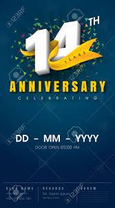 14 Years Anniversary Invitation Card Celebration Templatedesign