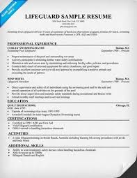 Description of lifeguard responsibilities for resume