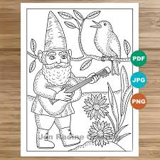 The cute little birds on this colouring page are perfect for a relaxing colouring activity. Musical Gnome Coloring Page Garden Gnomes Flowers Bird Etsy