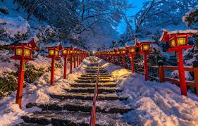 Wallpaper Japan Lights Ladder Japan Kyoto Kifune Shrine