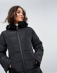 asos longline puffer coat with faux fur trim hood i66k6 for women
