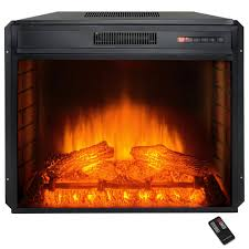 freestanding electric fireplace insert heater with tempered glass and remote control