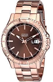 amazon com guess men s u0244g6 classic rose gold tone watch amazon com guess men s u0244g6 classic rose gold tone watch brown dial guess watches