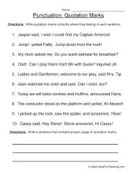 Quotation marks - Punctuation Worksheet 3