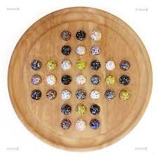 Wooden Solitaire Game With Marbles Asteroids Glass Marbles Solitaire Game Natural Wood eBay 76