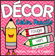 Color Pencils Wall Chart French Arabic English