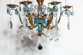 vintage 1940s italian green and gilt chandelier with colorful crystals in good condition for in