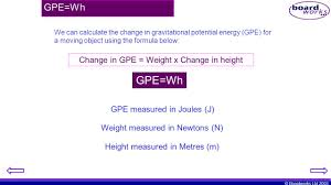 changes in gravitational potential energy 4 gpe wh