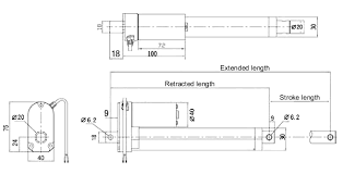 generic linear actuator feedback stroke v dimensions in mm of the generic linear actuators out feedback