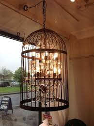 cage light chandelier aviary steel style
