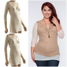 Sleevey Ivory Mesh Tunic Sleevey Wonders Plus Size