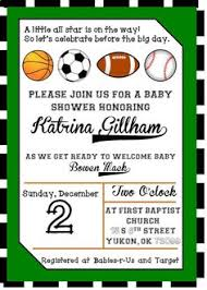 All Star Sports  Personalized Baby Shower Invitations Baby Shower Invitations Sports Theme