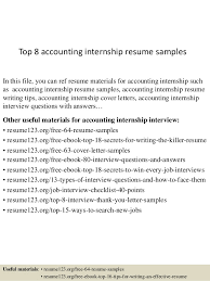 Sample Resumes For Interns Top 8 Accounting Internship Resume Samples