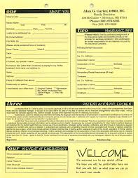 patient information form forms silverton or dentist dr alan g carter
