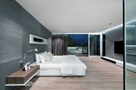 Grey And White Modern Master Bedroom Theme Using White Platform Bed