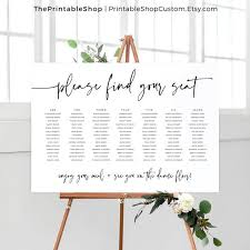 Seating Chart Wedding Digital Design Custom Printable Sign Please Find Your Seat Sign Black And White Seating Plan