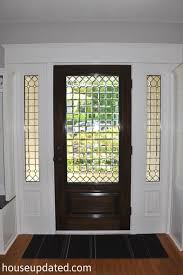 stained glass entry doors front door strong leaded interior walnut white trim
