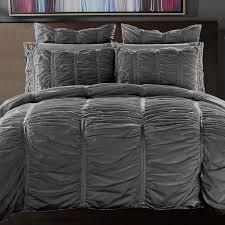 california design den ruffle duvet cover set cotton charcoal gray full queen 3 piece com