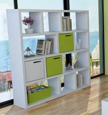 Four Level Design Of Shelving Units In Multi Functions White Combine Green  Colored Ideas