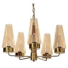 danish mid century modern chandelier in teak and brass for