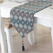 classic petal pattern table runner delicate jacquard craft coffee table cover cloth